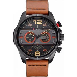 カレン curren メンズ 腕時計 Curren 8259 Black Dial Brown Genuine Leather Strap Analog Watch Black fermart3-store