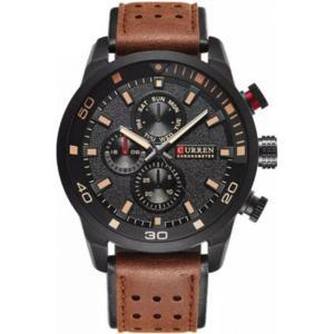 カレン curren メンズ 腕時計 Curren 8250 Black Dial Brown Genuine Leather Strap Analog Watch Black fermart3-store