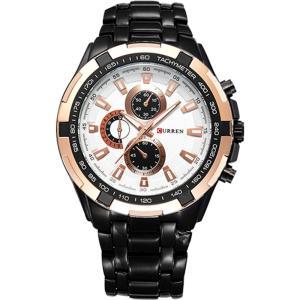 カレン curren メンズ 腕時計 Curren 8023 Stainless Steel Watch (White Gold Black) White fermart3-store