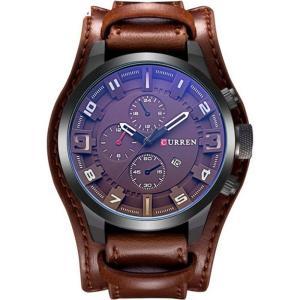 カレン curren メンズ 腕時計 Original CURREN 8225 Sports Full Leather Strap Date Watch (White Brown) brown fermart3-store