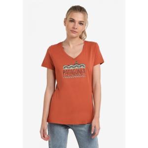 パタゴニア Patagonia レディース Tシャツ トップス Femme Fitz Roy V-Neck T-Shirt Canyon Brown|fermart3-store