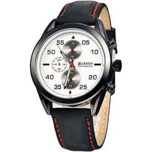 カレン curren メンズ 腕時計 Curren 8156 Sporty Leather Strap Watch (Black White) Black White fermart3-store