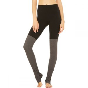 アローヨガ Alo Yoga レディース フィットネス ウェア Goddess Ribbed Leggings Black/Stormy Heather|fermart3-store