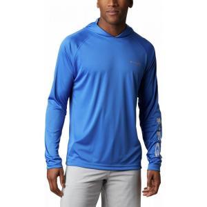 コロンビア メンズ トップス 釣り・フィッシング Terminal Tackle Pullover Hoodies Vivid Blue/Cool Grey Logo|fermart3-store