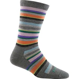 ダーンタフ Darn Tough レディース インナー ソックス Sassy Stripe Light Crew Sock Charcoal|fermart3-store