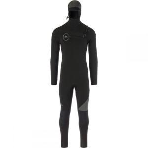 クイックシルバー メンズ ウェットスーツ 水着・ビーチウェア 5/4/3 Syncro Chest Zip GBS Hooded Wetsuits Black/Jet Black|fermart3-store