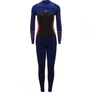 ロキシー レディース ウェットスーツ 水着・ビーチウェア 3/2 Syncro Plus Chest Zip LFS Wetsuit Navy Ll/Coral Flame|fermart3-store