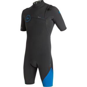 クイックシルバー メンズ ウェットスーツ 水着・ビーチウェア 2/2 Highline Zipperless Short - Sleeve Spring Wetsuits Graphite/Cyan|fermart3-store