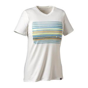 パタゴニア Patagonia レディース Tシャツ トップス Capilene Daily Graphic Shirt Horizon Line-Up/White|fermart3-store