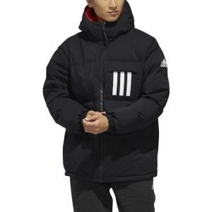 アディダス Adidas メンズ ダウン・中綿ジャケット フード アウター terrex reversible 3-stripe down hooded jacket Black/Scarlet/Black|fermart3-store