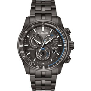 シチズン メンズ 腕時計 Citizen Eco-Drive Black Stainless Steel Chronograph Watch|fermart3-store