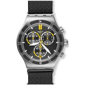 スウォッチ メンズ 腕時計 Swatch ORANGE TEETH Chronograph Leather Watch|fermart3-store