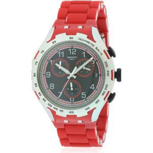 スウォッチ メンズ 腕時計 Swatch RED ATTACK Aluminium Chronograph Watch|fermart3-store