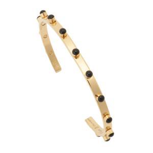 【即納】セリーヌ Celine ユニセックス ブレスレット ジュエリー・アクセサリー Technicolor Bracelet In Brass 46R046BRE BLACK GOLD ツートーン バングル fermart3-store