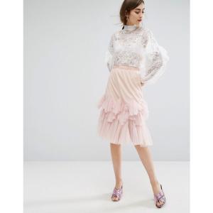 E.F.L.A レディース ひざ丈スカート スカート E.F.L.A Midi Skirt With Peplum Hem Pink fermart