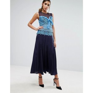 スリーフロア レディース ワンピース トップス Three Floor Pleated Midi Dress with Contrast Lace Detail Blue|fermart