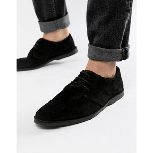 エイソス メンズ ビジネスシューズ シューズ・靴 ASOS Derby Shoes In Black Suede With Piped Edging Black|fermart
