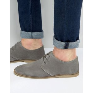 エイソス メンズ ビジネスシューズ シューズ・靴 ASOS Derby Shoes In Grey Suede With Piped Edging Grey|fermart