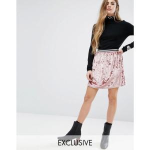 ロココ レディース カジュアルスカート スカート Rokoko Skater Skirt With Stripe Waistband Pink fermart