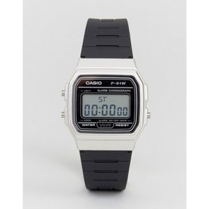 カシオ Casio メンズ 腕時計 F91WM-7A digital silicone strap watch in black/silver Black|fermart