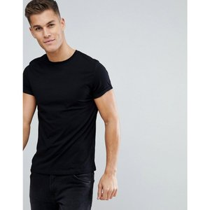 エイソス メンズ Tシャツ トップス ASOS T-Shirt With Crew Neck And Roll Sleeve In Black Black|fermart