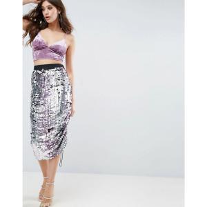 エイソス レディース ひざ丈スカート スカート ASOS Pencil Skirt with Ombre Embellishment and Channel Detail Silver fermart