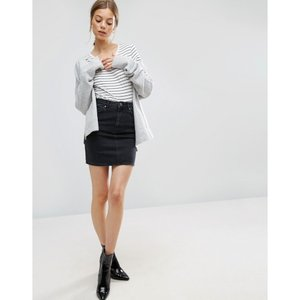 エイソス レディース ミニスカート スカート ASOS Denim Original High Waisted Skirt in Washed Black Washed black fermart