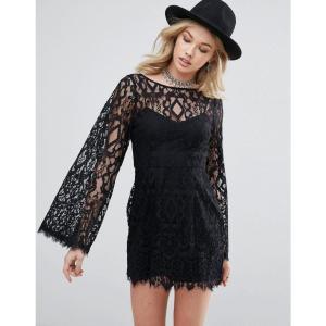フリーピープル レディース ワンピース ワンピース・ドレス Free People Guinevere Cape Sleeve Evening Dress Black|fermart