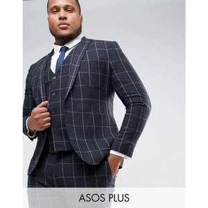 エイソス メンズ スーツ・ジャケット アウター ASOS PLUS Super Skinny Suit Jacket in Navy Check With Nep Navy|fermart