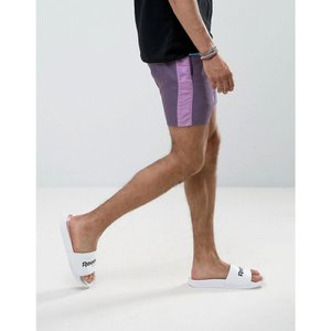 エイソス メンズ ショートパンツ ボトムス ASOS Slim Runner Shorts with Contrast Side Stripe In Purple Purple|fermart