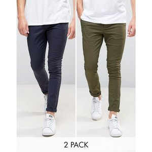 エイソス メンズ チノパン ボトムス・パンツ ASOS 2 Pack Super Skinny Chinos In Khaki & Navy SAVE Khaki/ navy|fermart