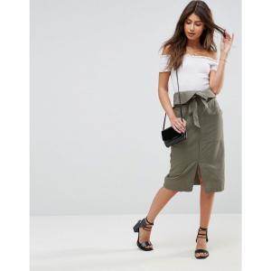 エイソス レディース ひざ丈スカート スカート ASOS Utility Midi Skirt with Paperbag Waist Green fermart