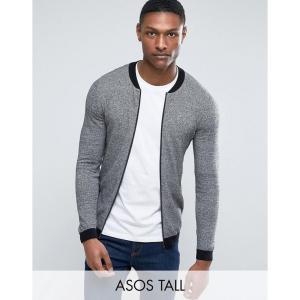 エイソス メンズ ブルゾン アウター ASOS TALL Knitted Cotton Bomber with Contrast Trims in Grey Twist Black/white twist|fermart