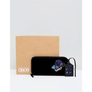エイソス メンズ 財布 ASOS Leather Gift Set With Embroidered Travel Wallet & Tag Black|fermart