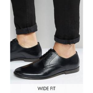 エイソス メンズ 革靴・ビジネスシューズ シューズ・靴 ASOS Wide Fit Derby Shoes in Leather Black fermart