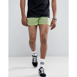 エイソス メンズ ショートパンツ ボトムス ASOS Slim Shorter Runner Shorts With Neon Cut & Sew Black|fermart