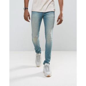 エイソス メンズ ジーンズ・デニム ボトムス・パンツ ASOS Super Skinny Jeans In Mid Wash Blue Mid wash blue|fermart
