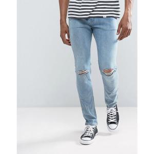 チープマンデー メンズ ジーンズ ボトムス Cheap Monday Tight Skinny Jeans Spear Blue Knee Rip Spear blue|fermart