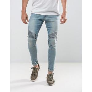 エイソス メンズ ジーンズ・デニム ボトムス・パンツ ASOS DESIGN extreme super skinny jeans in light wash biker Light wash blue|fermart
