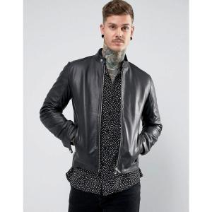 エイソス メンズ ブルゾン アウター ASOS Leather Racing Biker Jacket In Black Black|fermart
