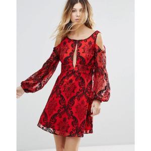 フリーピープル レディース ワンピース ワンピース・ドレス Want To Want Me Embroidered Flared Sleeve Dress Red|fermart