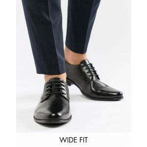 エイソス メンズ 革靴・ビジネスシューズ シューズ・靴 ASOS Wide Fit Derby Shoes in Black Black fermart