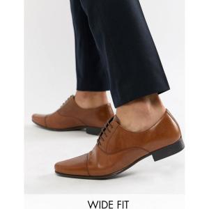 エイソス メンズ 革靴・ビジネスシューズ シューズ・靴 Wide Fit Oxford Shoes in Tan Leather With Toe Cap Tan fermart