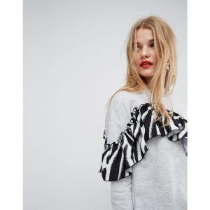 エイソス レディース スウェット・トレーナー トップス ASOS Made In Kenya Sweatshirt With Printed Ruffle Detail Grey fermart
