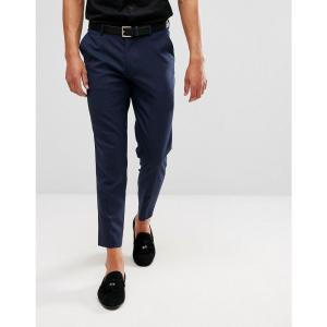 エイソス ASOS DESIGN メンズ クロップド ボトムス・パンツ skinny cropped smart trousers in navy Navy|fermart