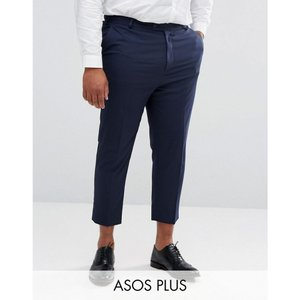 エイソス メンズ ボトムス・パンツ ASOS PLUS Tapered Smart Trousers in Navy Navy|fermart