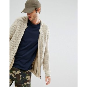 エイソス メンズ ブルゾン アウター ASOS Heavyweight Knitted Bomber In Beige Beige|fermart