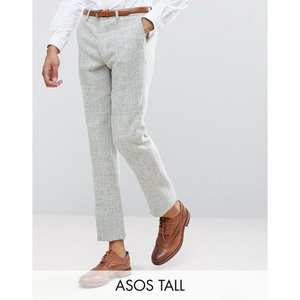 エイソス メンズ スラックス ボトムス・パンツ ASOS TALL Slim Suit Trousers in 100% Wool Harris Tweed Herringbone In Light Grey Light grey|fermart