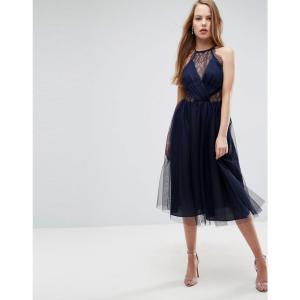 エイソス レディース ワンピース ワンピース・ドレス ASOS Lace Panelled Tulle Mesh Midi Dress Navy|fermart