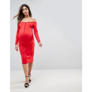 エイソス レディース ワンピース ワンピース・ドレス ASOS Maternity Midi Sweetheart Neck Button Through Bodycon Dress Red fermart